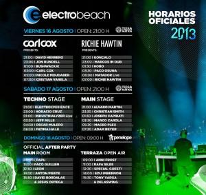 horario del electrobeach festival benidorm 2013