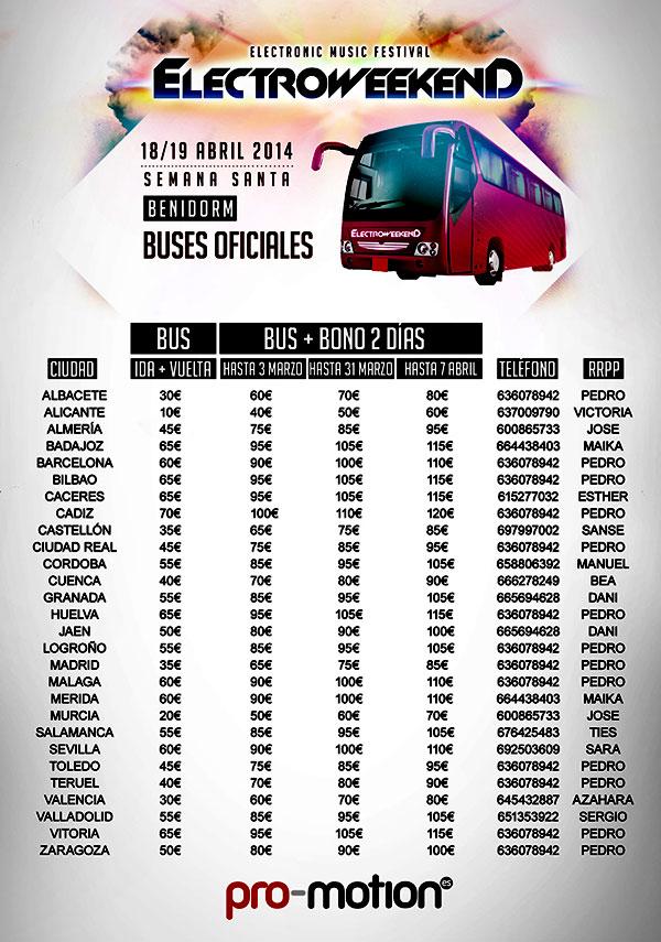 autobuses para electro weekend en benidorm 2014